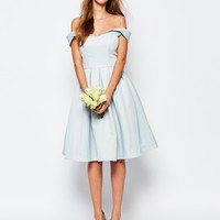 Chi Chi London Midi Prom Dress with Full Skirt and Bardot Neck