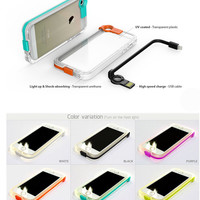 Multi-function Light Up Case Cover for iPhone 5s 6 6s Plus with Data Line Gift 231