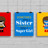 Super Sisters Art - Superhero Sister Prints, Set of 3, Girl Superhero Decor, Super Girls Playroom, Girls Room Decor, Typography