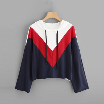 KPOP BTS Bangtan Boys Army Women's Long Sleeve Colorblock Hooded Stripe Hoodie Print Sweatshirt Blouse Top PH10  hoodie AT_89_10