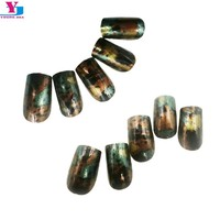 New Design Artificial False Press On Nails Full Cover Foil Effect  Faux Ongels Fake nails With Glue Acrylic Nail Art Tips