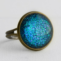 Underwater Ring in Antique Bronze - Blue, Indigo & Green Glitter Ring