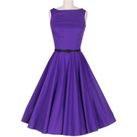 Purple Vintage Pleated Midi Dress
