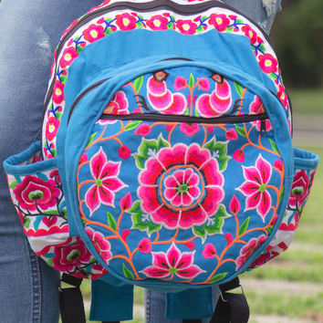 Tribal Backpack with Hmong Embroidered in Blue
