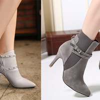 Womens Edgy Studded Ankle Strap Heel Booties