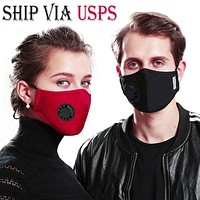 Ship Via USPS 5-Layer PM2.5 Activated Carbon Filter Mouth Mask With Valve  Meets N95 Reusable Anti Flu/Haze/Dust/Fog Respirator Mouth-muffle