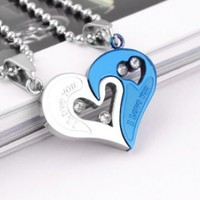 Titanium Steel Couple Heart Necklace,With Annagle Lord of the Rings Necklace