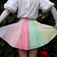 High waisted rainbow circus circle skirt