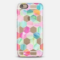 Pink, Mint & Teal Crystal Hexagon Oil Paint Pattern iPhone 6 case by Micklyn Le Feuvre   Casetify