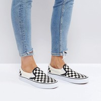 Vans Classic Slip On Sneakers In Black Check at asos.com