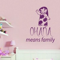 Wall Decals Vinyl Decal Sticker Mural Interior Design Lilo & Stitch Quote Ohana Means Family Kids Nursery Baby Room Boy Girl Bedding Decor