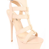 Nude Cute Casual Strappy Fall High Heels Faux Leather