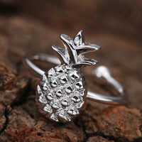 Cute Pineapple - Silver Pineapple Ring - Adjustable +Gift Box