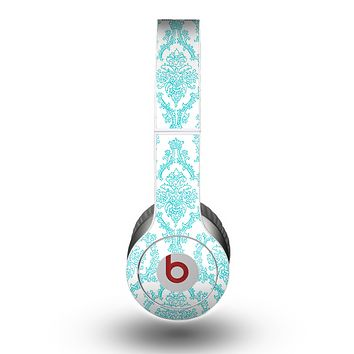 The White & Teal Damask Pattern Skin for the Beats by Dre Original Solo-Solo HD Headphones