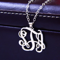 """1.25""""inch interlocking Monogram Sterling Silver Necklace,925 Silver Pendant Necklace ,Name initial Necklace"""