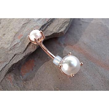 14kt Rose Gold Pearl Prong Set Belly Button Ring