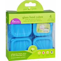Green Sprouts Storage Cubes - Glass - Fresh Baby Food - Aqua - 2 Oz - 4 Pack