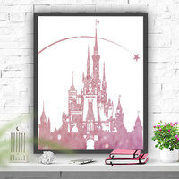 Disney Castle art print  Nursery Print Instant Download Nursery Decor Princess Castle Printable Pink Nursery Decor Printable art