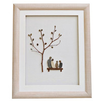 Pebble art family of four gift, Unique framed 3D wall art, Original new home housewarming, anniversary or Christmas gift, Natural home décor