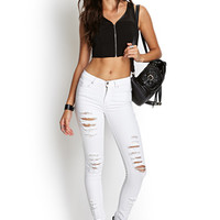 FOREVER 21 Distressed Skinny Jeans White Large