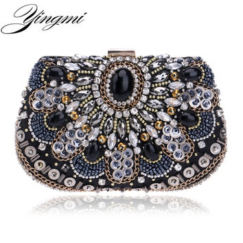 Vintage women evening bags beaded wedding clutch purse handmade style evening bag for wedding chain diamonds embroidery bags