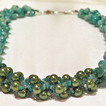 Teal Beadwork Necklace - Green and Teal Seed Bead Patterned Bracelet - Spiral Rope Design - Ocean Greens Necklace