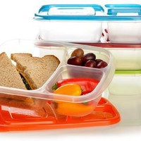 """EasyLunchboxes 3-compartment Bento Lunch Box Containers """"CLASSIC"""" (Set of 4). BPA-Free. Easy-Open Lids (Not Leakproof):Amazon:Kitchen & Dining"""