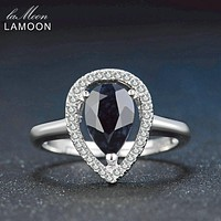 Lamoon 6X9mm Teardrop 100% Real Burma Black Sapphire 925 Sterling Silver Ring with S925 For Women LMRI054