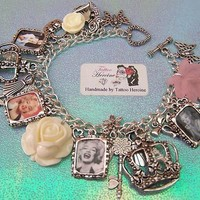 Marilyn Monroe Picture Photo Silver Tone Charm Bracelet by Tattoo Heroine