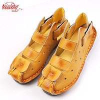 2017 Summer New Soft Bottom Flat Leather Shoes Personality Casual Women Sandals Tunnel Vintage Handmade Sandals