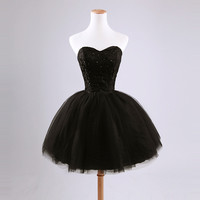 Sweetheart Black Short Mini Prom Dresses
