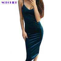 Velvet High Quality V-neck Dress