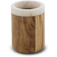 CP Prajat Round Toothbrush Toothpaste Holder Tumbler, Wood and Marble