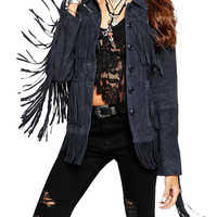 Suede Buttoned Down Jacket with Fringe