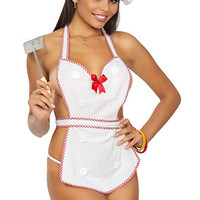 White Halter BowTied Back Plaid Trim  Chef Costume Set