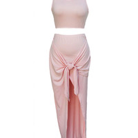 Pink Sleeveless Round Neck Hip Wrapped With Front Twist Slit Dress