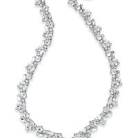 Charter Club Silver-Tone Crystal Cluster V Necklace, Created for Macy's - Jewelry & Watches - Macy's
