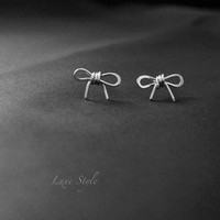 Bow Ear Rings, silver stud earrings,  Modern Jewelry Contemporary Unique designer handmade, luxe style jewelry