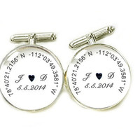 Glass Latitude Longitude Cufflinks, Photo Cuff links, gift for men