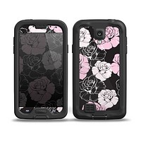 The Pink and Black Rose Pattern V3 Skin for the Samsung Galaxy S4 frē LifeProof Case