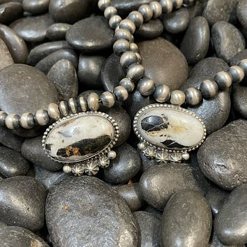 18 inch White Buffalo Necklace on Navajo Pearl Genuine Necklace