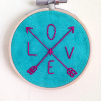 """Love Arrow Blue and Pink 3"""" Embroidered Wall Hanging"""