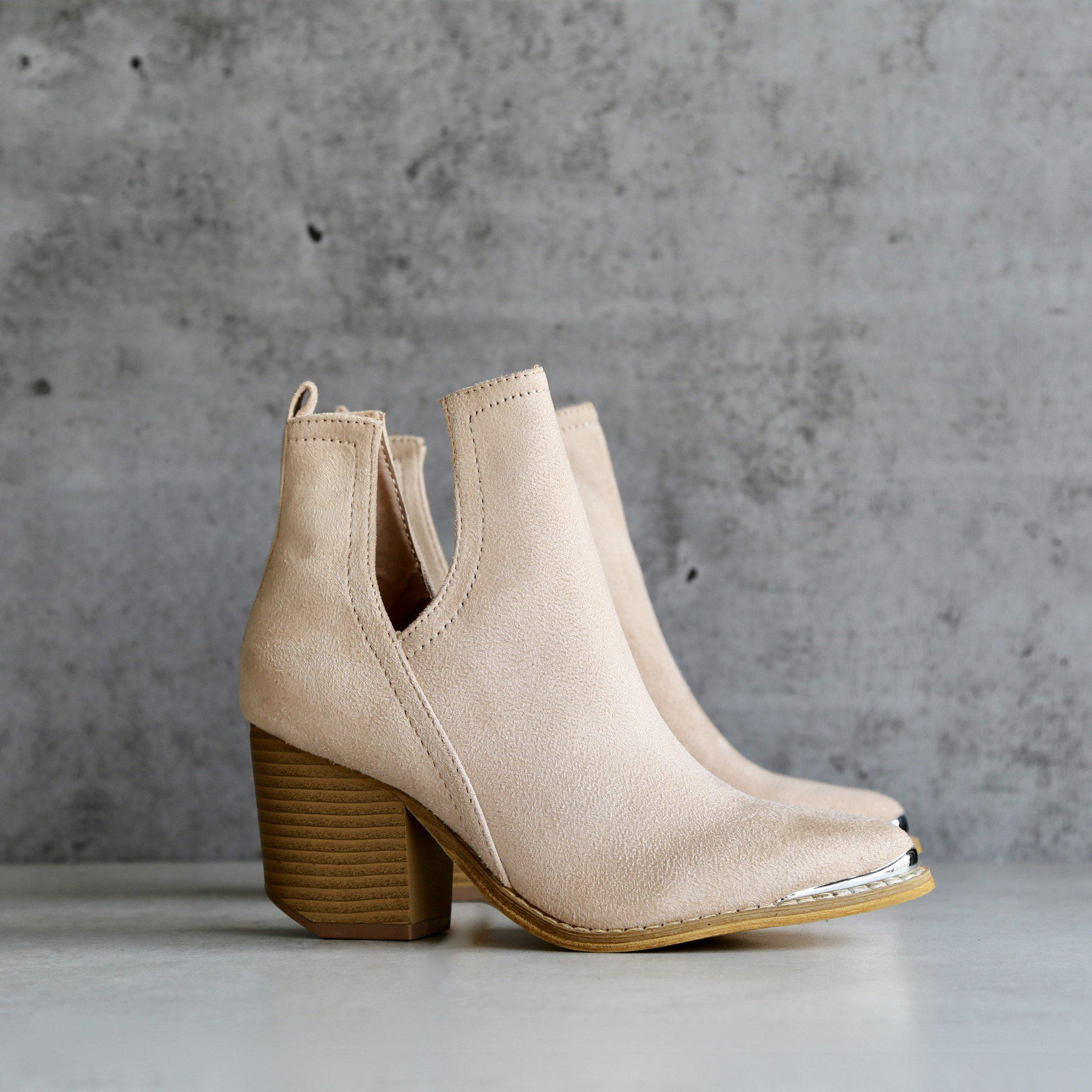 Image of final sale - vegan suede side cut out bootie with metal tip - nude