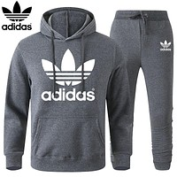 ADIDAS LV Louis Vuitton Classic hot sale printed letter logo hooded sweatshirt trousers two-piece suit