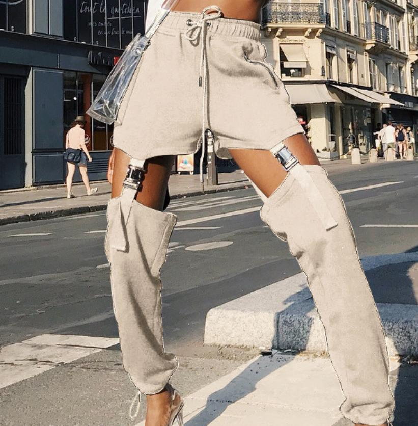 Image of The new style continuously empty sexy personality buckle belt high-waist pants