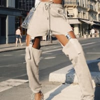 The new style continuously empty sexy personality buckle belt high-waist pants