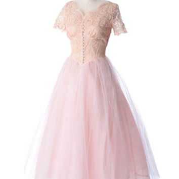 50s Cameo Pink Lace Tulle Formal Dress Wedding Gown