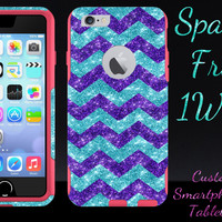"""OtterBox Commuter Series Case for 4.7"""" iPhone 6 - Custom Glitter Case for 4.7"""" iPhone 6 - Purple Small Chevron Paradise/Pink"""