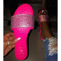 Diamond slippers and sandals for women's shoes