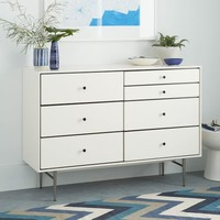 Heston Mid-Century 7-Drawer Dresser - White